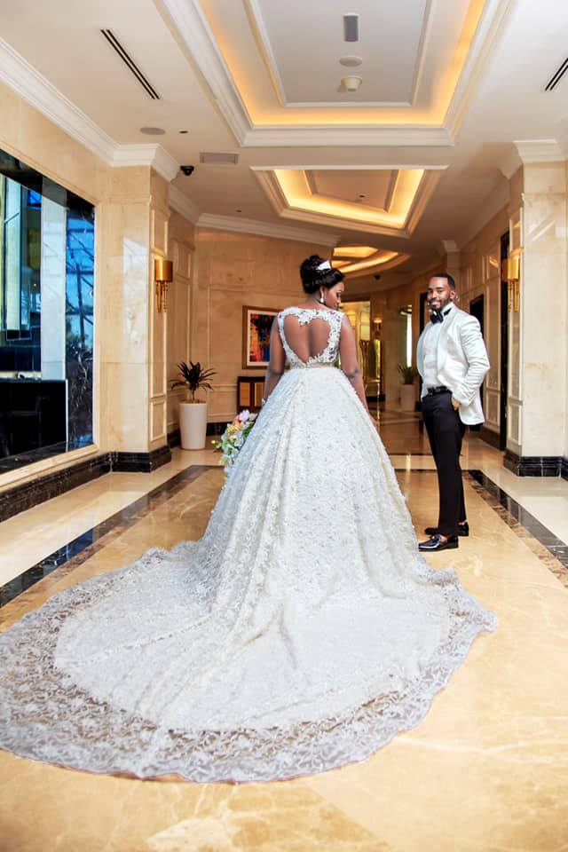 Fatumah Asha customized wedding gowns changing dress party dresses in Kampala Uganda cinderella heart design gown