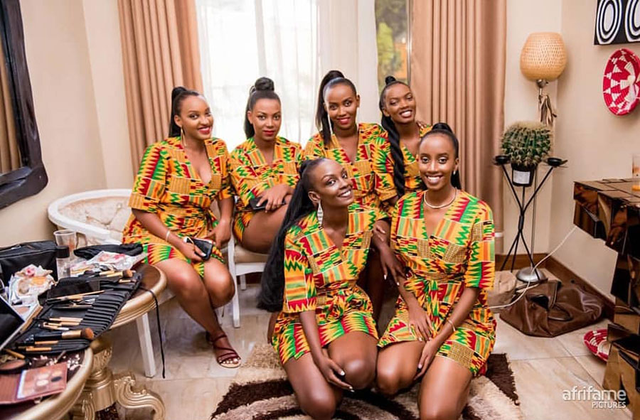 Ugandan girls wearing ankara kitenge African bridal wedding robes